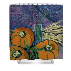 Shower Curtain featuring the painting Pumpkins And Wheat by Erin Fickert-Rowland