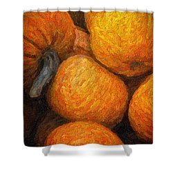 Shower Curtain featuring the photograph Pumpkins In A Box by Tom Singleton