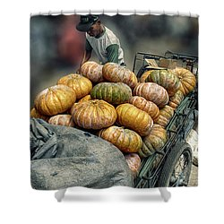 Shower Curtain featuring the photograph Pumpkins In The Cart  by Charuhas Images