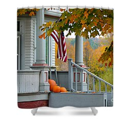 Pumpkins On A Vermont Porch Shower Curtain by Catherine Sherman