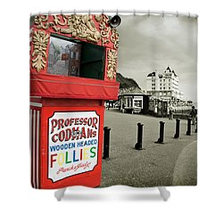 Punch And Judy Theatre On Llandudno Promenade Shower Curtain by Mal Bray