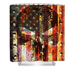 Punisher Skull On Rusted American Flag Shower Curtain