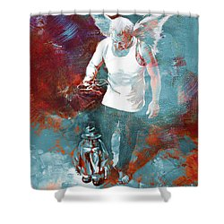 Shower Curtain featuring the painting Puppet Man 003 by Gull G