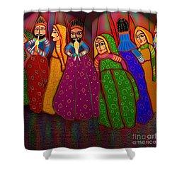 Puppet Show Shower Curtain by Latha Gokuldas Panicker