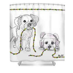 Puppies Greeting Card Shower Curtain
