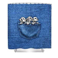 Puppies In A Pocket Shower Curtain
