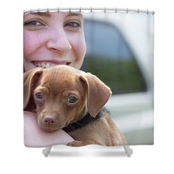 Puppy And Smiles Shower Curtain