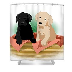 Puppy Basket Shower Curtain