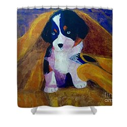 Shower Curtain featuring the painting Puppy Bath by Donald J Ryker III