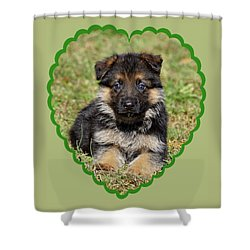 Shower Curtain featuring the photograph Puppy In Heart by Sandy Keeton