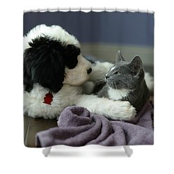 Shower Curtain featuring the photograph Puppy Love by Linda Mishler