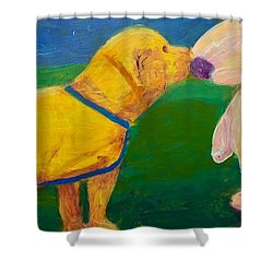 Shower Curtain featuring the painting Puppy Say Hi by Donald J Ryker III