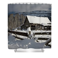 Purcell Mtn Barn Shower Curtain