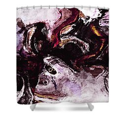 Shower Curtain featuring the painting Purple Abstract Painting / Surrealist Art by Ayse Deniz