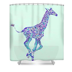 Purple And Aqua Running Baby Giraffe Shower Curtain by Jane Schnetlage