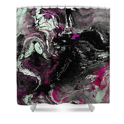 Shower Curtain featuring the painting Purple And Black Minimalist / Abstract Painting by Ayse Deniz
