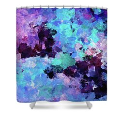 Shower Curtain featuring the painting Purple And Blue Abstract Art by Ayse Deniz