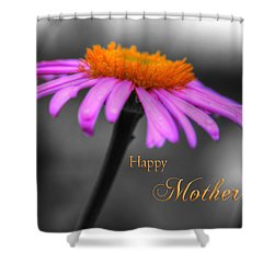 Shower Curtain featuring the photograph Purple And Orange Coneflower Happy Mothers Day by Shelley Neff
