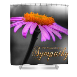 Shower Curtain featuring the photograph Purple And Orange Coneflower With Sympathy by Shelley Neff