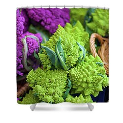Purple And Romanesco Cauliflower Shower Curtain