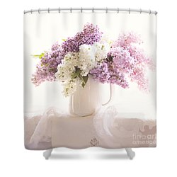 Shower Curtain featuring the photograph Purple And White Lilacs Still Life by Sylvia Cook
