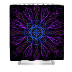 Shower Curtain featuring the photograph Purple Blue Kaleidoscope Square by Adam Romanowicz