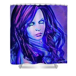 Purple Blue Portrait Shower Curtain