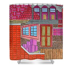 Purple Buildings Shower Curtain