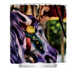 Purple Carousel Horse Shower Curtain
