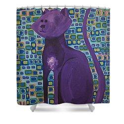 Purple Cat Shower Curtain
