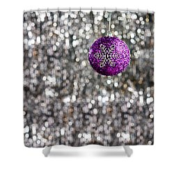 Shower Curtain featuring the photograph Purple Christmas Bauble  by Ulrich Schade