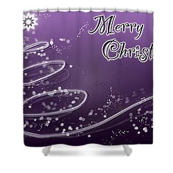 Purple Christmas Card Shower Curtain by Lisa Knechtel