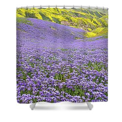 Purple  Covered Hillside Shower Curtain by Marc Crumpler