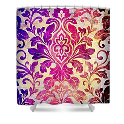 Purple Damask Pattern Shower Curtain