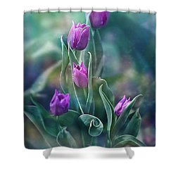 Purple Dignity Shower Curtain by Agnieszka Mlicka
