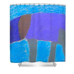 Shower Curtain featuring the pastel Purple Elephant by Artists With Autism Inc