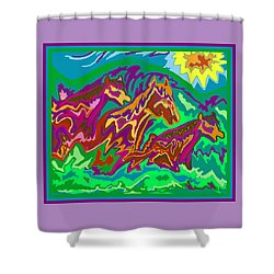 Purple Feathered Horses Shower Curtain