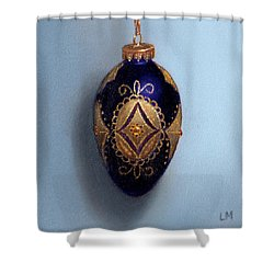 Purple Filigree Egg Ornament Shower Curtain