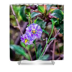 Purple Flower Family Shower Curtain