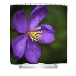 Shower Curtain featuring the photograph Purple Flower Macro Impression by Dan McManus
