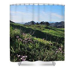 Shower Curtain featuring the photograph Purple Flowers And Green Hills Landscape by Matt Harang