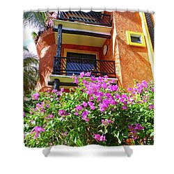 Shower Curtain featuring the photograph Purple Flowers By The Balcony by Francesca Mackenney