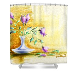 Purple Flowers In Vase Shower Curtain