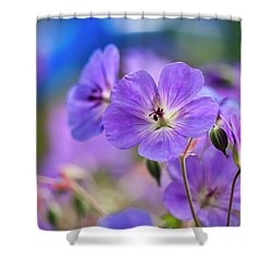 Purple Flowers Shower Curtain by Rae Tucker