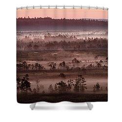 Purple Fog On Swamp Shower Curtain by Teemu Tretjakov