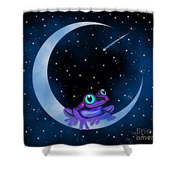 Shower Curtain featuring the painting Purple Frog On A Crescent Moon by Nick Gustafson