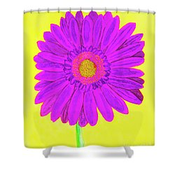 Purple  Gerbera On Yellow, Watercolor Shower Curtain by Irina Afonskaya