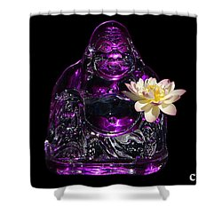 Purple Glass Buddah With Yellow Lotus Flower Shower Curtain by Gary Crockett