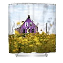 Purple House And Yellow Flowers Shower Curtain
