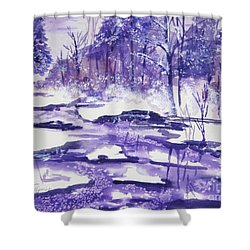 Shower Curtain featuring the painting Purple Ice On Kaaterskill Creek by Ellen Levinson